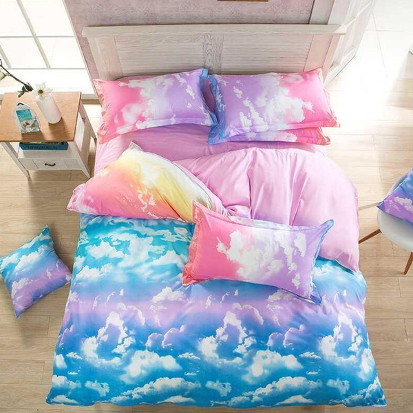 Fashion Rainbow Cloud Bed Set Bed Sheets Sets Bedclothes Duvet Cover Bedding Sets Kids Bedroom Home Decor Comforter Cover Set Size Twin Queen King No Comforters No Pillow Inner Wish