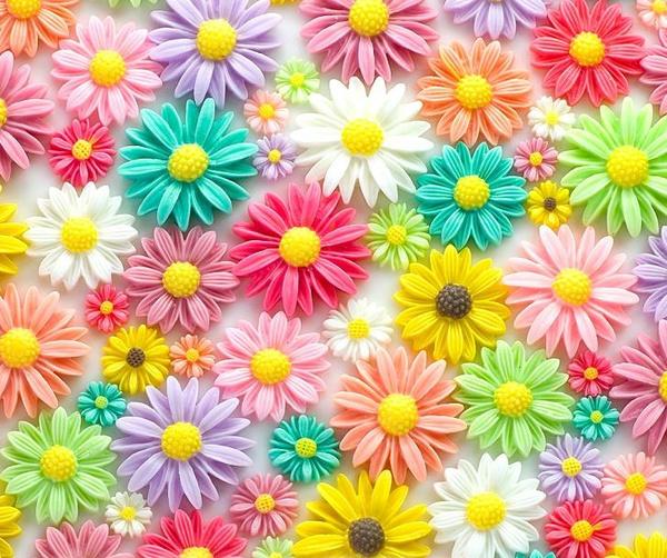Pastels, Flowers, resinflower, daisy