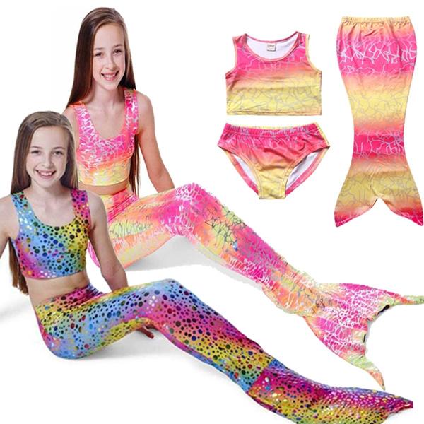 Girls Mermaid Tail Swimmable Bikini Set Kids Swimwear Swimsuit Swimming Costume