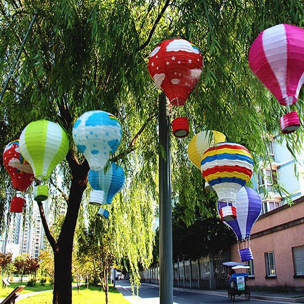 hotairballoon, rainbow, paperlantern, floatinglantern