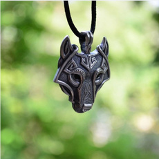 Head, Gifts, wolfheadnecklace, Vintage