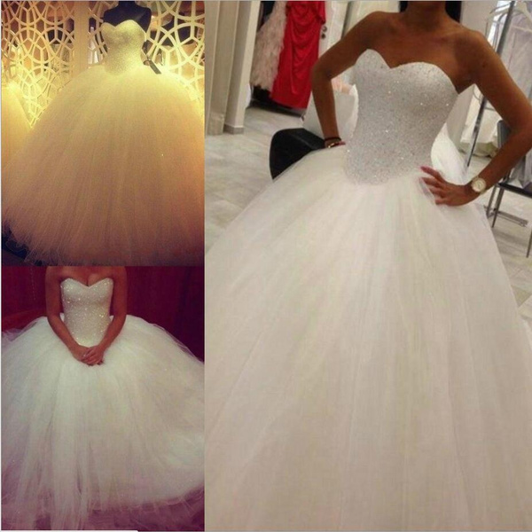2017 Princess Bling Luxury Crystals White Wedding Dress Gown Bridal Wedding Gown Wish