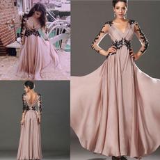 Lace, chiffon, Dress, V-neck
