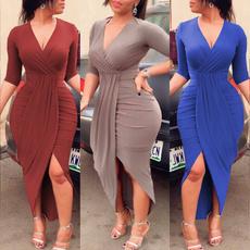 vneckline, Pleated, Sexy Dress, Women's Fashion