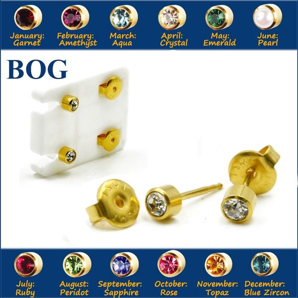 24kgold, Steel, gold, Stud Earring
