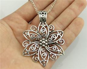 Antique, longchain, Chain Necklace, Flowers