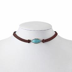 leatherchoker, Turquoise, bohojewelry, Jewelry
