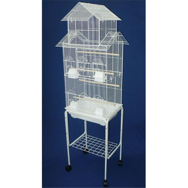 Yml 6844 4814wht Pagoda Top Small Bird Cage With Stand In White Wish