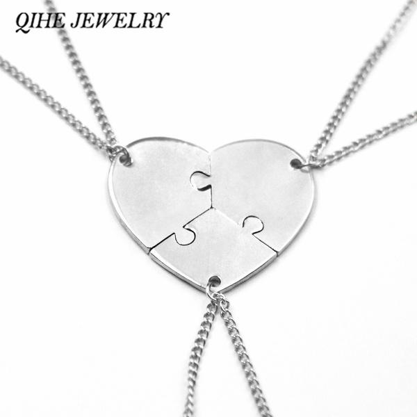 Heart, sister, Jewelry, setof3puzzlepiecescharm