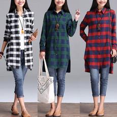 plaid shirt, shirtsforwomen, plaidcoat, Plus Size