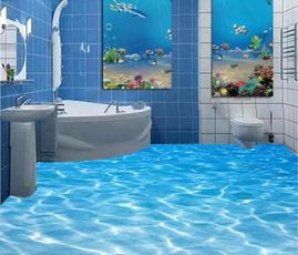 Bathroom, bathroomtoiletsticker, 3dhomefloorstickerpaper, Waterproof