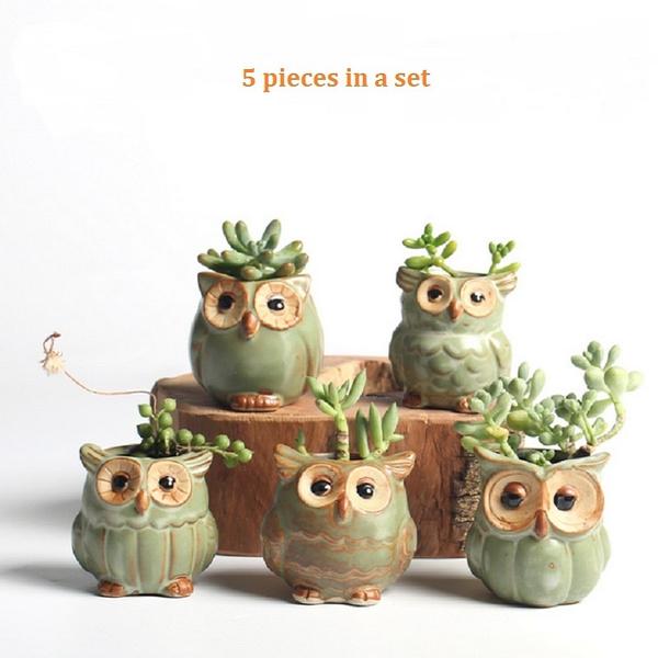 Pottery, Owl, Plants, Ceramic