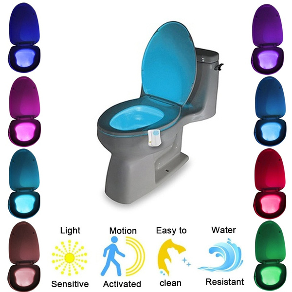 Led Toilet Nightlight Motion Sensor Activated Light Battery Operated Lamp Toilet Seat Led Lamp Bowl Bathroom Nightlight 8 Colors Wish