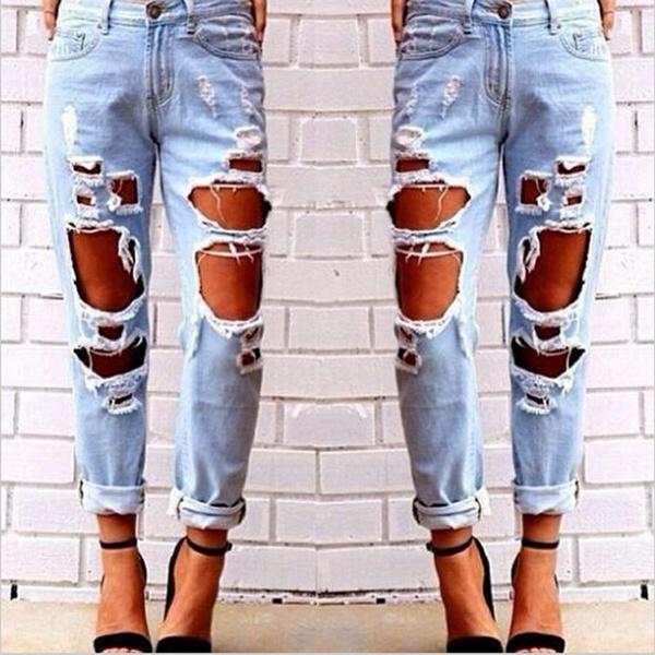 ripped, Fashion, pants, Loose