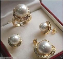 earringsandring, pearls, Elegant, 18 k