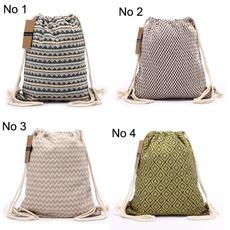 Cotton fabric, vintage backpack, Drawstring Bags, drawstring backpack