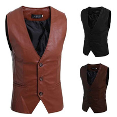 Joker, slim, Men's vest, leather
