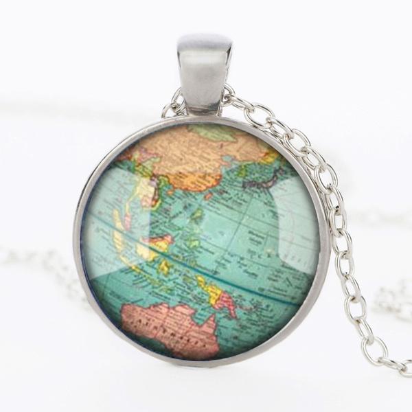 Map, art, Jewelry, Vintage