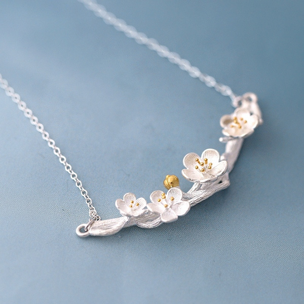 silver plated, Chain Necklace, Jewelry, flower necklace