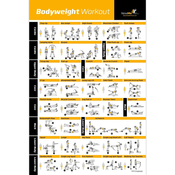 Bodyweight Exercise Poster Total Body Workout Personal Trainer Fitness Program Home Gym Poster Tones Core Abs Legs Gluts Upper Body Improves Training Routine 20 X30 Wish