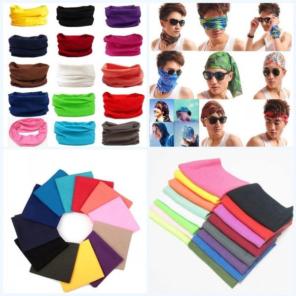 Unisex Bandana Face Mask Neck Gaiter Snood Headwear Beani Solid Color Tube Scarf