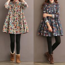 Plus Size, sleeve dress, winter dresses, A-line