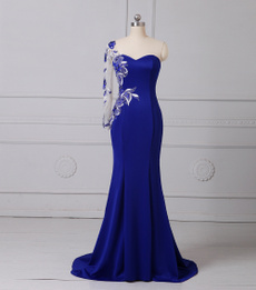 Blues, gowns, Jerseys, one shoulder dress