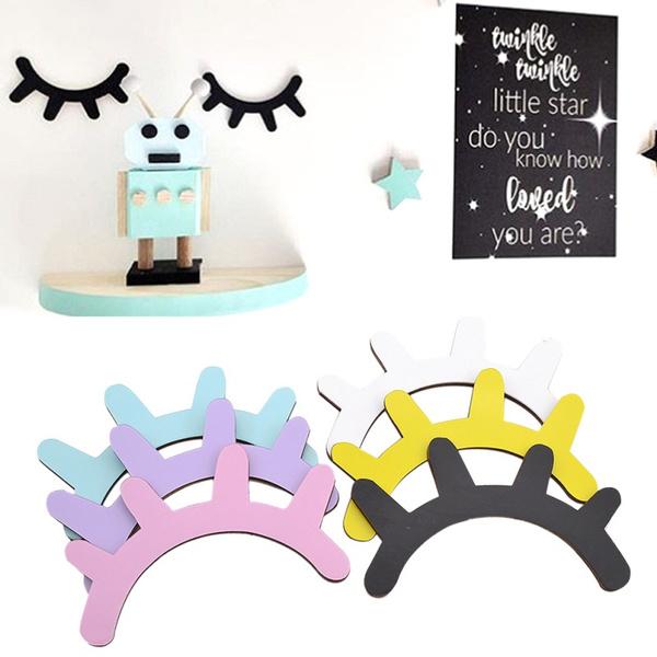 cute, woodcuteeyelashdesignwalldecal, Wooden, Stickers