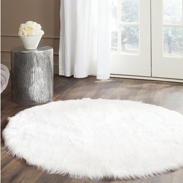 Real Round White Faux Sheepskin Rug Fur