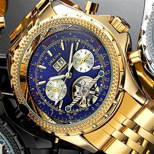MG. ORKINA Mens Golden Automatic Mechanical Wrist Watch