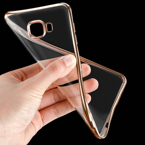 For Samsung Galaxy A3 / A5 / A7 2017 Case Clear Transparent Gold Plating Soft TPU Back Cover for Samsung A3 / A5 / A7 / A8 / A9 2015 2016 2017 ...