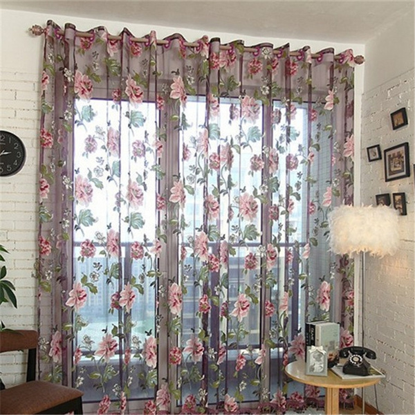 Flowers, living room, Home Decor, flowercurtain