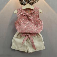 Summer, floralsleevelessshirt, girltoppant, girlfloralclothesset