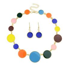 indianjewelryset, bohojewelryset, Colorful, enamelroundcharmsnecklaceearringsset