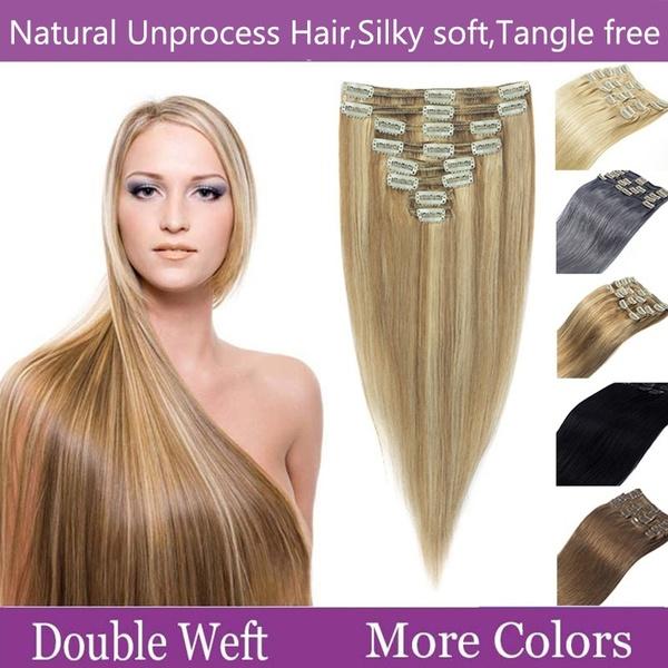 hair, Head, doubleweft, clip in hair extensions