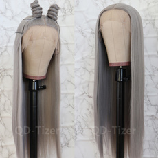 Black wig, orangewig, Encaje, greywig