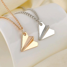 airplanenecklace, gold, Chain, airplanemodel