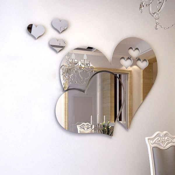 Kf Qu Jn 100pcs 3d Love Mirror, Large Mirror Wall Stickers Uk