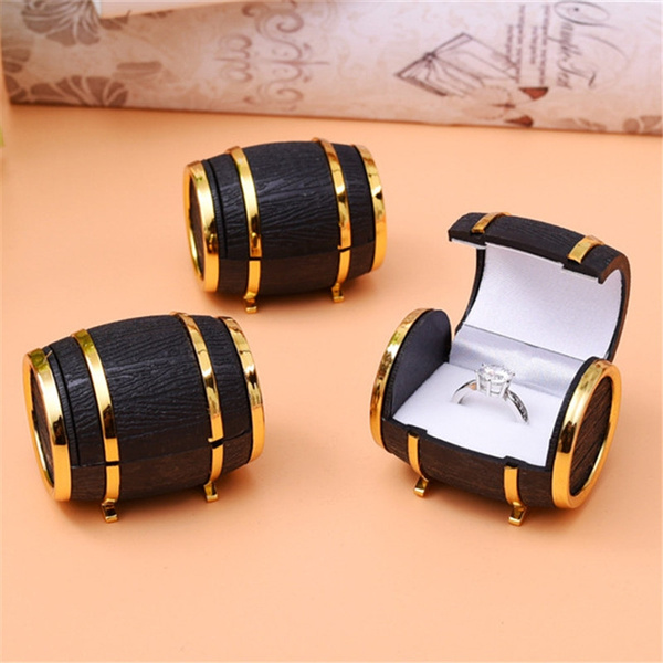 Novelty Beer Barrel Velvet Ring Earring Box Case Jewelry Display Showcase