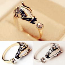 adjustablering, horse, crystal ring, Jewelry