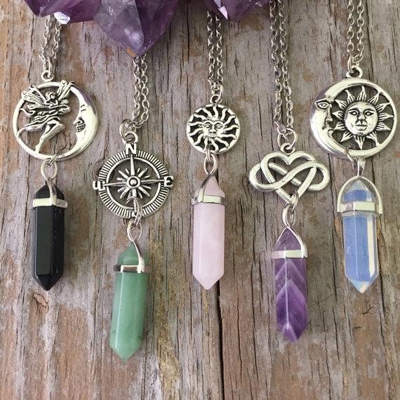 Heart, quartz, Infinity, Necklace