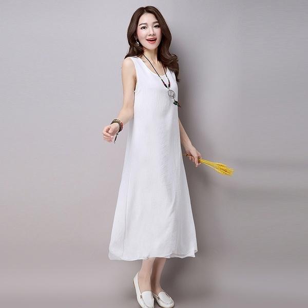 cottonlinendre, vest dress, Summer, long dress