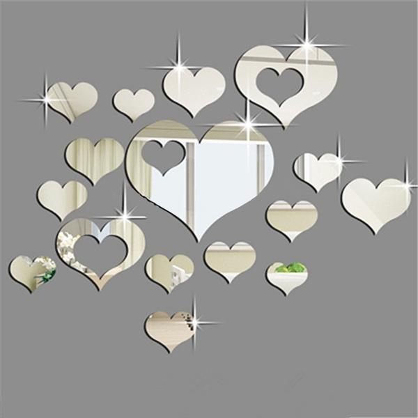 Home Decor, Fashion, heartshapewalldecal, 3dwallsticker