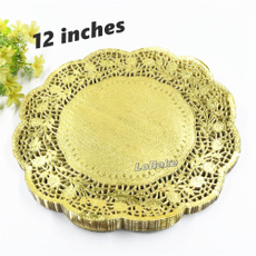 Home & Kitchen, roundpaperlacedoilie, gold, tablewareplacemat