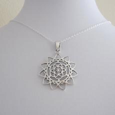 kabbalah, Heart, Chain Necklace, Flowers
