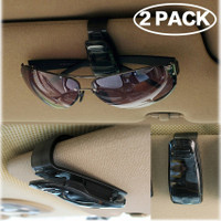 ROSON Sunglass Holder for Car Sun Visor 2 Pack Gasses Holder Clip Hanger Eyeglasses Mount for Car with Biling Rhinestones Crystal Ticket Card Clip White