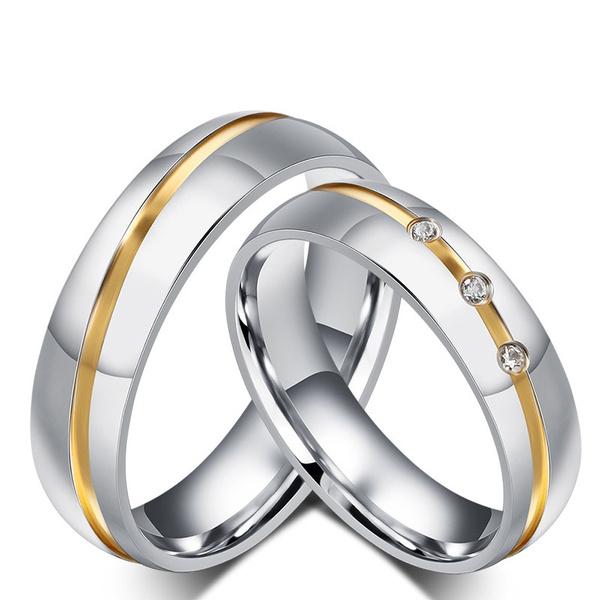 Couple Rings, Steel, crystal ring, wedding ring