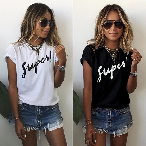 Summer, Plus Size, Shirt, letter print
