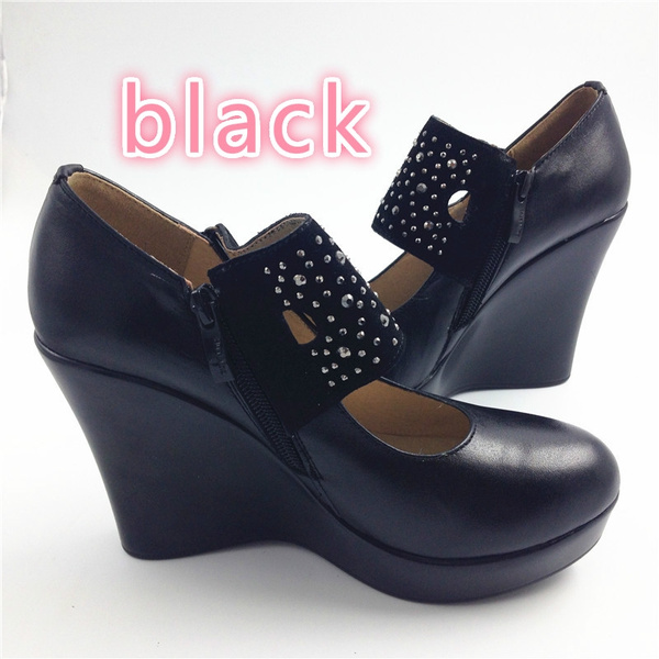genuine leather women high heels wedges
