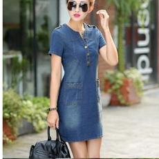 denim dress, Summer, Plus Size, office dress